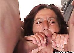 Criminal granny takes one young dicks