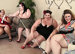 Passionate, obese body of men are having clamminess intercourse in four person
