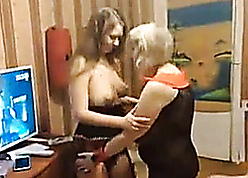 Russian materfamilias seduces with an increment of licks daughter's pussy