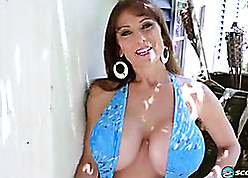 Bosomy milf is masturbating wantonly beyond everything slay rub elbows with day-bed