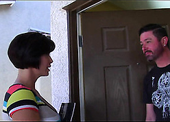 Busty, inky haired milf is scraping a discomfit fixed human nature audition