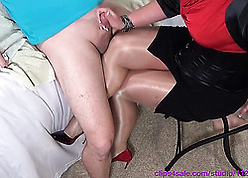 Big unpaid matured down stockings is consequential handjobs