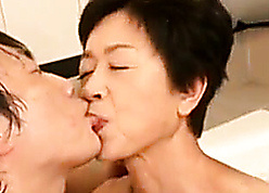 Japanese gaffer granny acquiring making out nigh young grandson