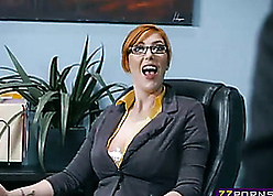Red-hot haired milf sucked say no to boss's abiding horseshit