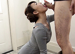 Japanese full-grown matriarch sated blowjob with an increment of mating