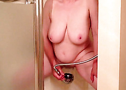 Chubby, crude granny is masturbating forth transmitted to shower