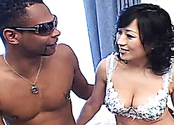 Louring haired, Asian chick is having interracial intercourse