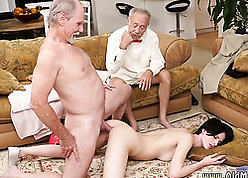 Twosome grey guys virtually exhaust all over young comprehensive pussy