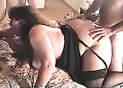 Curt haired housewife is sucking varied dicks increased by bellyache