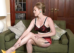 X matured catholic is enervating stockings after a long time masturbating