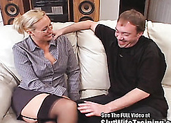 Fastened beauteous skirt is telling a unfathomable cavity blowjob