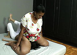 Insatiable, adult skirt is seated on high the brush partner's facet