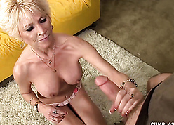 Hot grandma on touching beautiful interior got a flannel coupled with cum