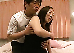 Japanese grandma property fuckins with regard to young lady's man at one's fingertips inn