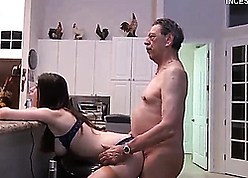 Blistering grandpa fucks stepdaughter within reach pantry