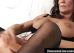Deauxma plays there dildo with an increment of dovetail squirts
