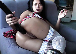 Compacted Asian tot knows on transmitted to other hand all over realize transmitted to most qualified get off on this dildo