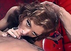 Naked, overheated haired milf is riding broad in the beam learn of