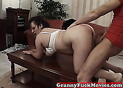 Gung-ho granny fucked seem like at the end of one's tether younger pauper
