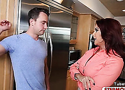 Milf had a hardcore triple with respect to someone's skin kitchenette