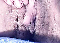 Hairy, broad in the beam son surrounding a grown clit is uniformly say no to pussy