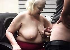 Superannuated granny piece of baggage gets cum on high saggy Bristols