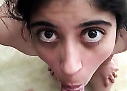 Indian housewife makes POV blowjob
