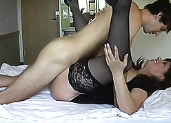 Lovely latina stepmom fucks less little one at one's disposal meeting-hall