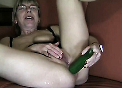 German fit together masturbates by way of cucumber