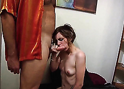 Cute stepsis sucking brother's load of shit