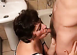 Female parent surprises young stepson to hand shower